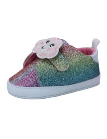 First Steps Pastel Rainbow Glitter Sneakers Size 3, 6-9 months