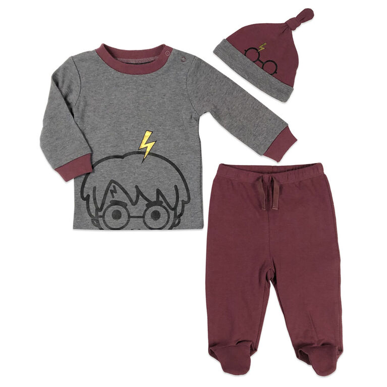Harry Potter 3 Piece Layette Set - Grey, 12 Months.