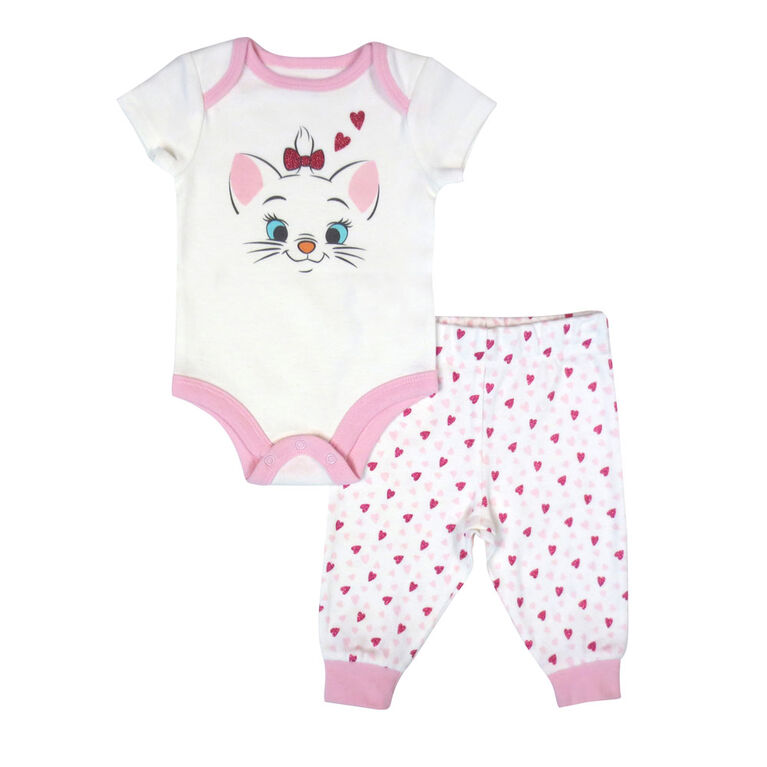 Disney Marie 2 pc bodysuit and pant set - Pink, 6 Months