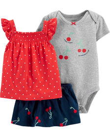 Carter's 3-Piece Cherry Diaper Cover Set - Red/Navy/Grey, 12 Months