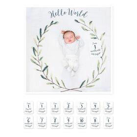Lulujo - Babys 1St Year - Hello World Wreath Milestone Blanket