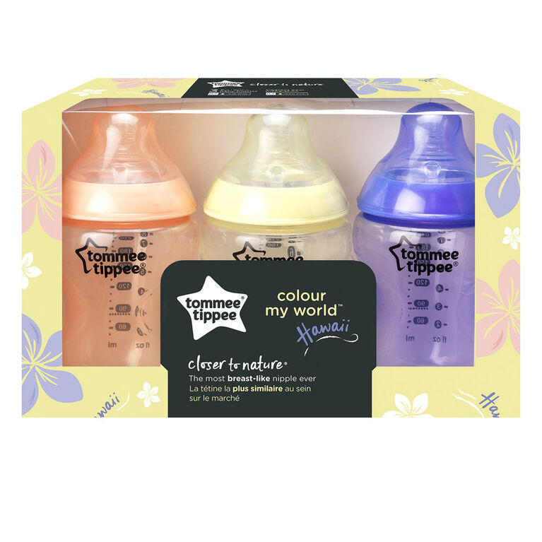 Ensemble de 3 biberons de 9 oz Colour My World de Tommee Tippee - Hawaii.