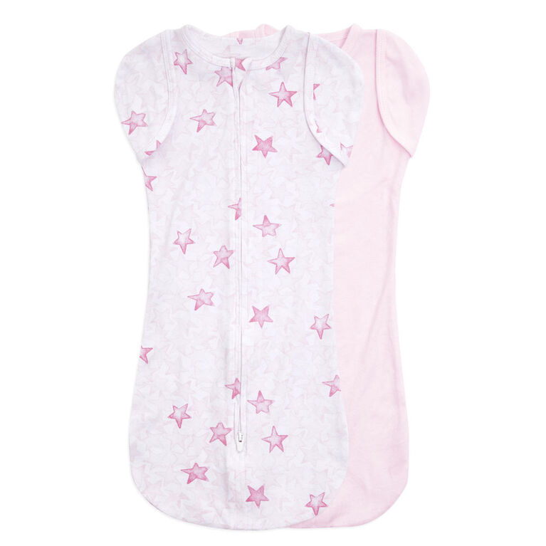 Aden + Anais Twinkling Stars Pink 2 pack Snug Swaddle  0-3 Months
