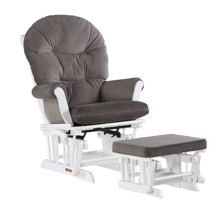 Lennox Valencia Glider Chair and Ottoman - White/Gray