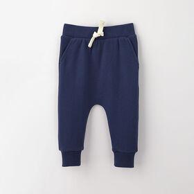 drop-crotch cozy sweats, 9-12m - dark blue