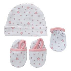 Koala Baby bonnet, mitaines et chaussons - Etoiles Rose.