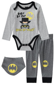 Batman 3 Piece Bodysuit Pant Bib Set 0-3M-Grey