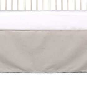 Cotton Bed Skirt with Pompom Trim - Grey