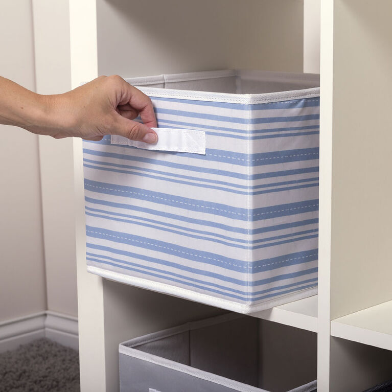 Blue Stripe Canvas Storage Bin
