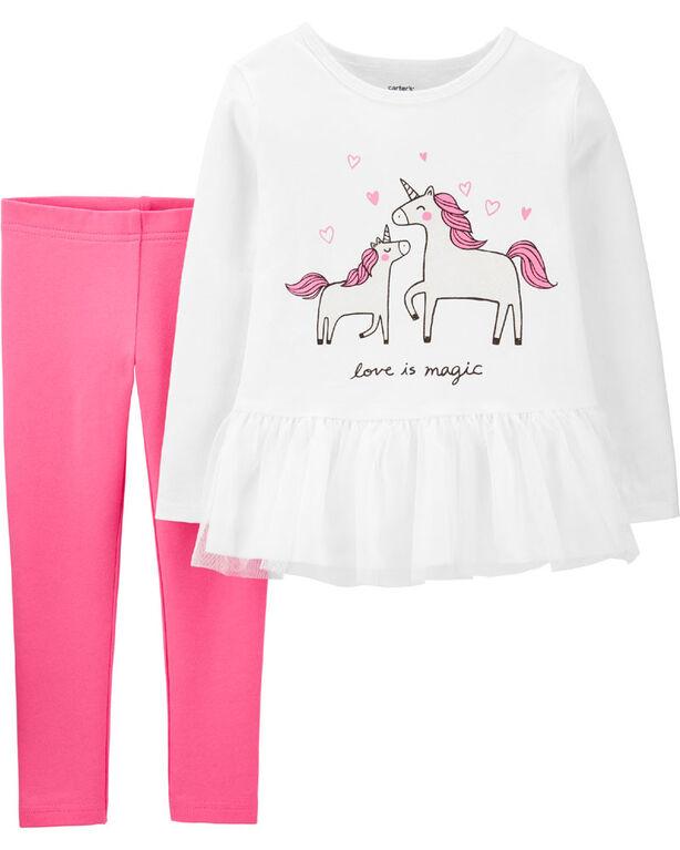 Carter's 2-Piece Unicorn Peplum Top & Legging Set - Ivory/Pink, 12 Months