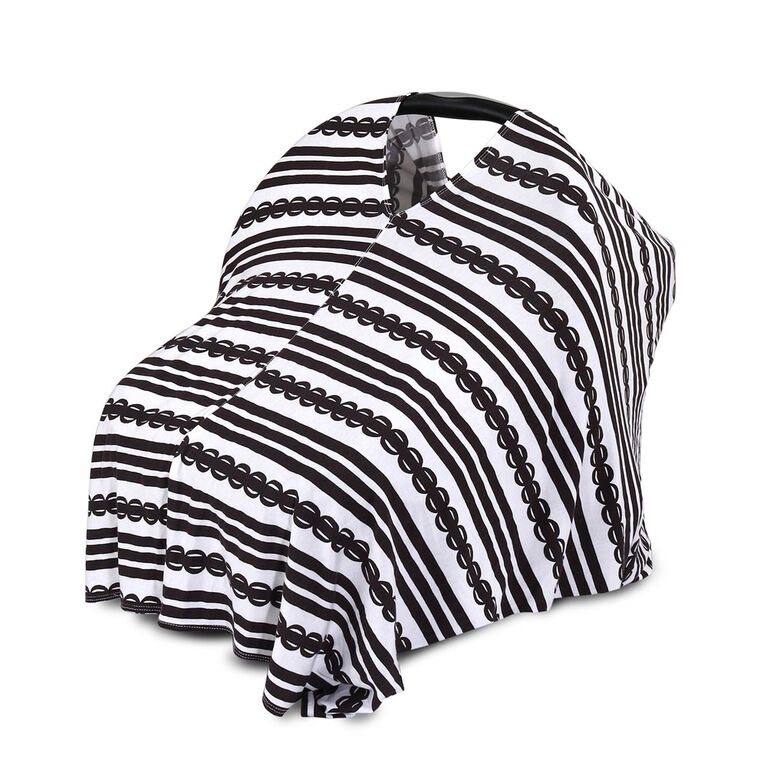 The Peanutshell 6-in-1 Nursing Poncho, Black and White Stripe