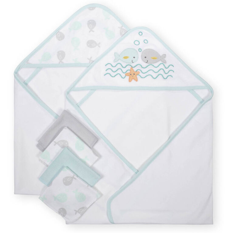Koala Baby 2-Pack Hooded Towel & 4-Pack Washcoth Set, Whales