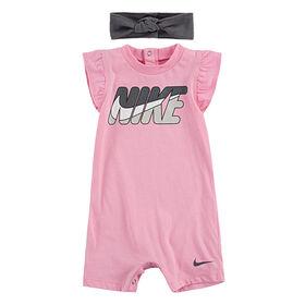 Nike Romper with Headband - Pink, 0-3 Months to Newborn