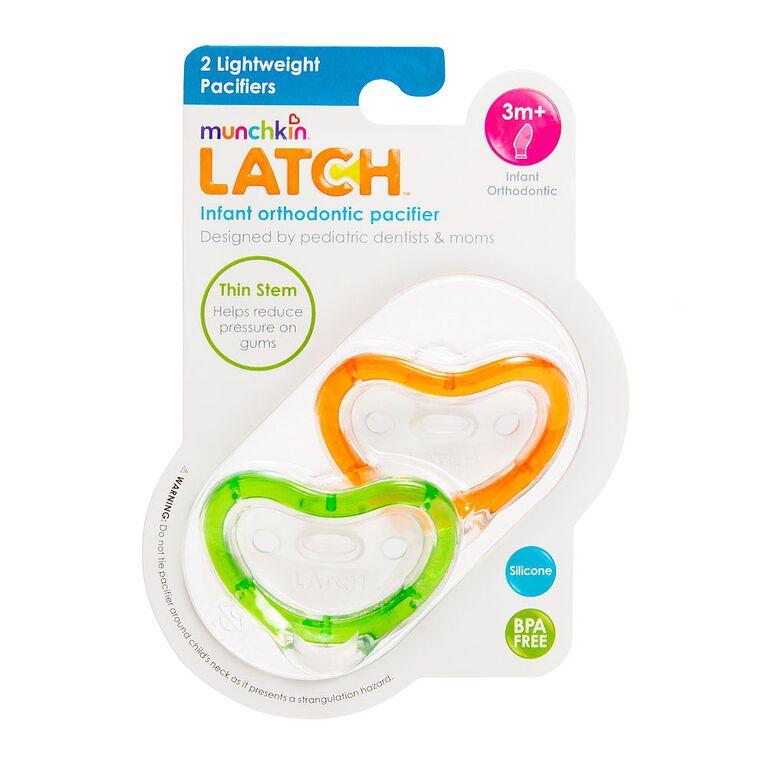 Munchkin - LATCH Lightweight, 3+ Months Pacifier, 2-Pack - Green/Orange