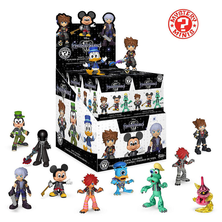Figurines miniatures  Mystery Minis  Kingdom of Hearts de Funko - 1 personnages de la collection Mystery  sélectionnés au hasard réunis dans une même boîte.