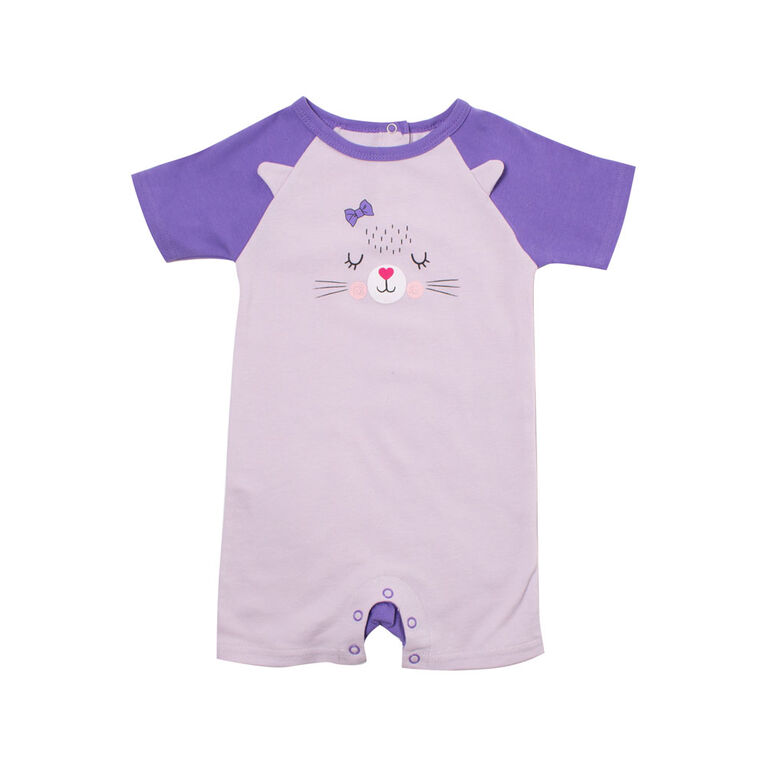 Snugabye Girls Panda Face Romper - Purple Cat 3-6 Months