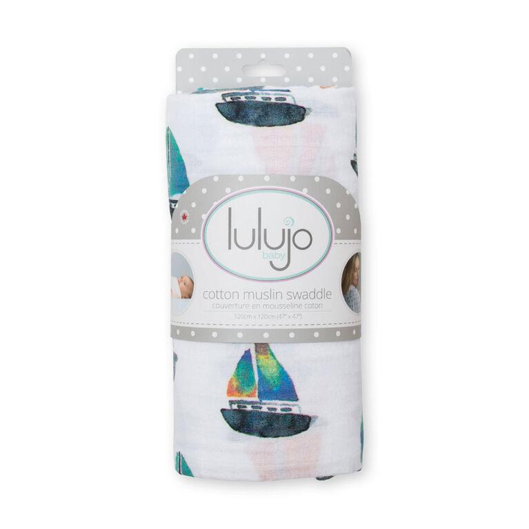 Lulujo Couverture à langer en mousseline - Voilier.