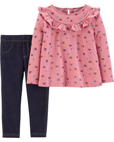 Carter's 2-Piece Butterfly Ruffle Top & Legging Set - Pink/Navy, 3 Months