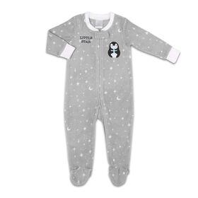 Dormeuse Koala Baby en micropolaire de couleur grise et motif étoilé avec un pingouin — Little Star, 0-3M