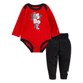 Nike LS Bodysuit Pant Set - Red/Black , Size 3 Months