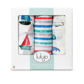Lulujo - 3Pk Bamboo Swaddle - Out At Sea