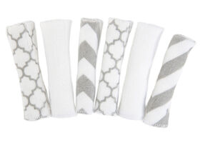Kushies Washcloths 6-Pack - Grey/White
