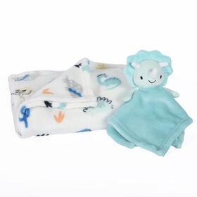 Premier ensemble en 2 pièces pour bébé, couverture et bébé ami - Dinosaure