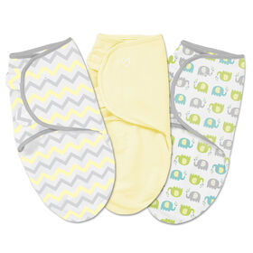 Summer Infant SwaddleMe Original Swaddle - Small - 3 Pack - Chevron Splash Yellow Elephant