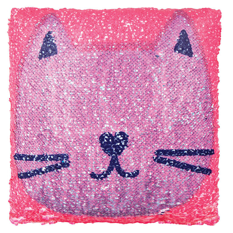 Style Lab Magic Sequin Pillow: Meow You Doin