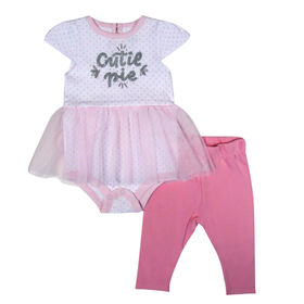 Rococo 2 Piece Pant and tutu Bodysuit Set - Pink, Newborn