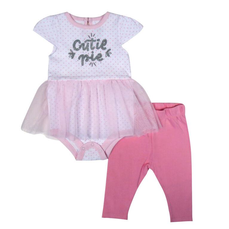 Rococo 2 Piece Pant and tutu Bodysuit Set - Pink, Newborn
