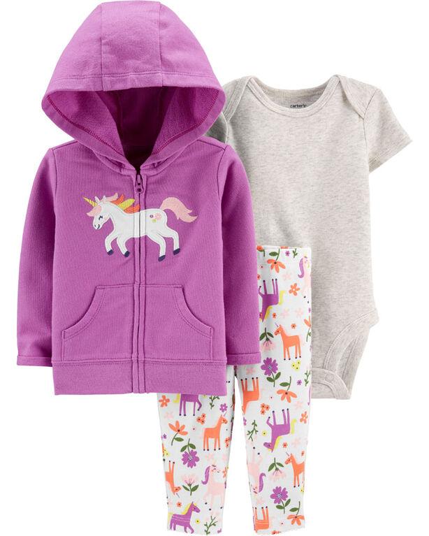 Carter's 3-Piece Unicorn Cardigan Set - Purple, 3 Months