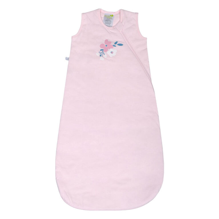 Perlimpinpin quilted cotton sleep bag - Pink flowers, 0-6 Months