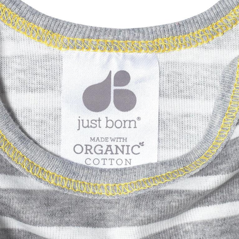 Just Born Baby Boys 4-Pack Organic Short Sleeve Onesies Bodysuits - Lil Lion 12 Months