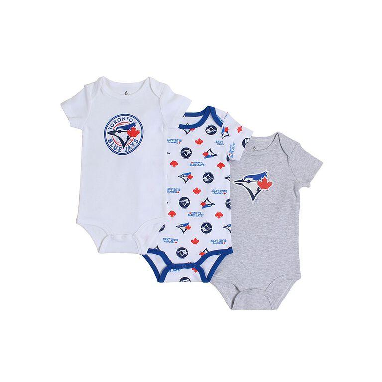 Snugabye Toronto Blue Jays 3 Piece Infant Body Suit set  0-3 Months