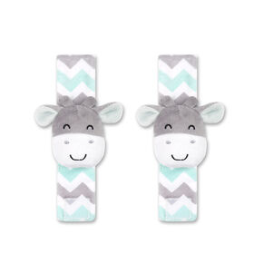 The Peanut Shell 2-Pack Wrist Rattles - Giraffe, Mint/Grey
