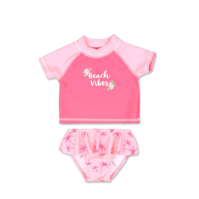 Koala Baby 2Pc Short Sleeve Rash Guard Set Pink Beach Vibes 18-24 Months