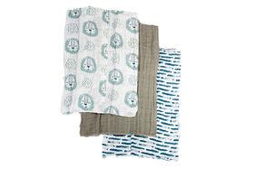 Emballage de 3 serviettes pour le rot en mousseline de coton Koala Baby.