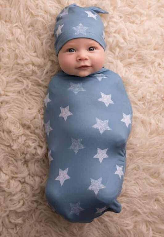 Itzy Ritzy - Cocoon & Hat Set- Blue Stars.