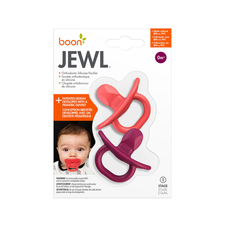 Sucette orthodontic en silicone Boon Jewl étape 1,  2 pk rose