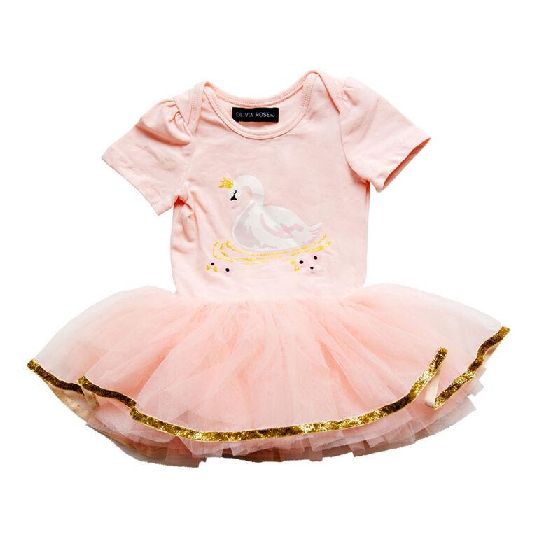 Olivia Rose – Short Sleeve Swan Tutu Dress – Pink – 12 Months