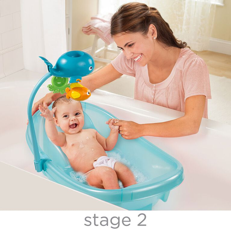 Summer Infant Ocean Buddies Newborn to Toddler Baby Tub with Toy Bar