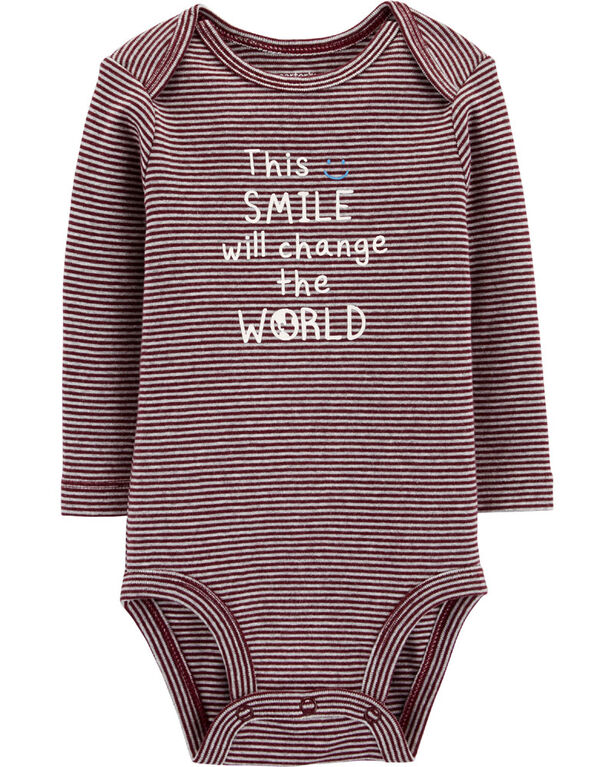 "Carter's ""This Smile Will Change The World"" Collectible Bodysuit - Plum, 3 Months"