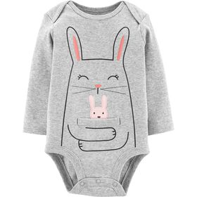 Carter's Bunny Hug Collectible Bodysuit - Grey, 24 Months