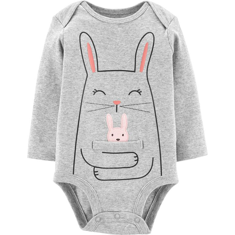 Carter's Bunny Hug Collectible Bodysuit - Grey, 6 Months