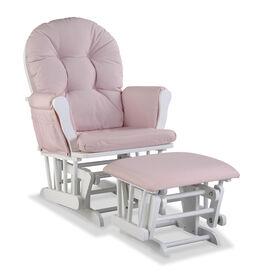 Hoop Glider and Ottoman - White/Swirl Pink.