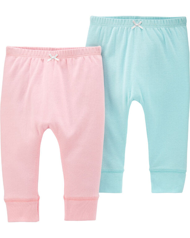 Carter's 2-Pack Pull-On Pants - Pink/Blue, 6 Months