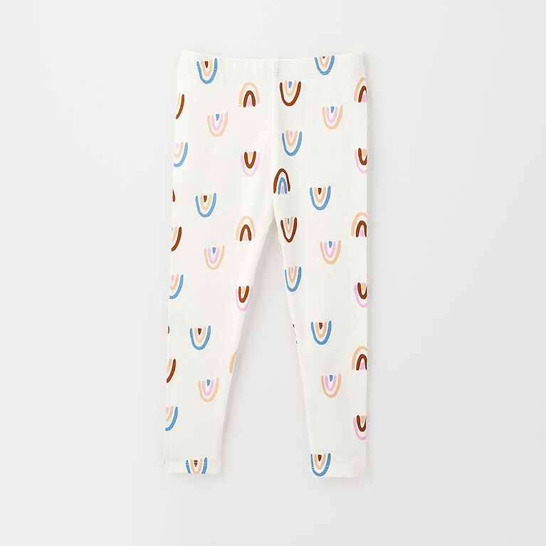 18-24m legging en coton biologique - arc-en-ciel/blanc
