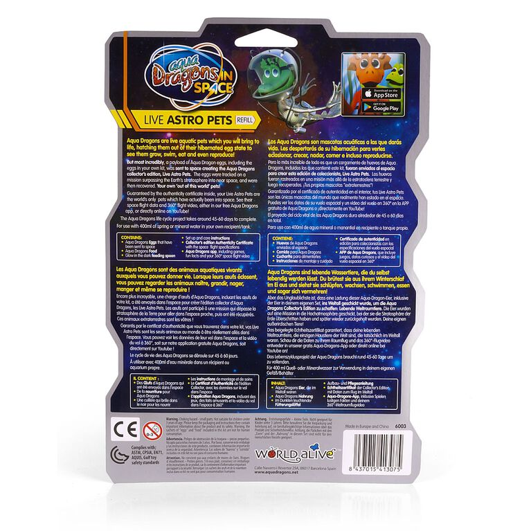 WORLD ALIVE Aqua Dragons In Space Live Astro Pets Refill.