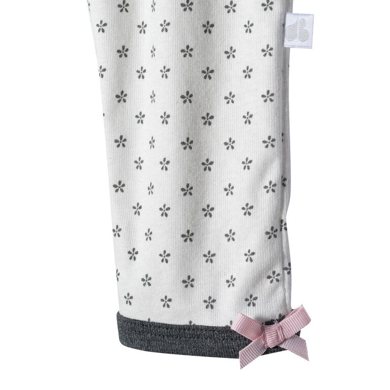 Just Born Baby Girls' 2-Piece Organic Long Sleeve Onesies Bodysuit and Pant Set - Lil' Lamb 3-6 months
